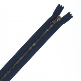 Recycled non-divisible brass Eclair® zipper - navy blue