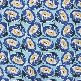 Tissu coton cretonne enduit Tesaya - céladon x 10cm
