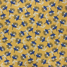 Coated cretonne cotton fabric - mustard yellow Omby x 10cm