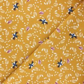 Tissu coton cretonne Jolhiro - ocre x 10cm