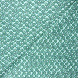Cretonne cotton fabric - green Yazo x 10cm
