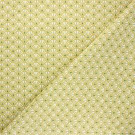 Tissu coton cretonne Yazo - vert anis x 10cm