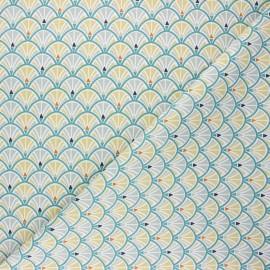 Tissu coton cretonne Jacinthe - céladon x 10cm
