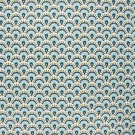 Coated cretonne cotton fabric - celadon Zadani x 10cm