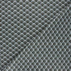 Cretonne cotton fabric - anthracite Yazo x 10cm