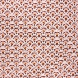 Coated cretonne cotton fabric - marsala Zadani x 10cm