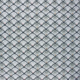 Coated cretonne cotton fabric - grey Jacinthe x 10cm