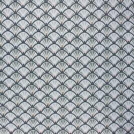 Tissu coton cretonne Jacinthe - gris x 10cm