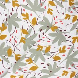 Tissu coton cretonne Ydori - vert de gris x 10cm