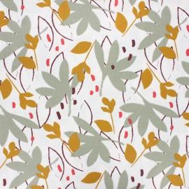 Tissu coton cretonne enduit Ydori - vert de gris x 10cm