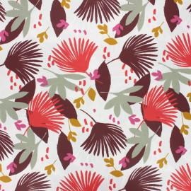 Coated cretonne cotton fabric - burgundy Ydori x 10cm