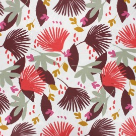 Tissu coton cretonne enduit Saori - bordeaux x 10cm
