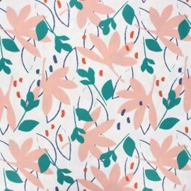 Coated cretonne cotton fabric - pink Ydori x 10cm