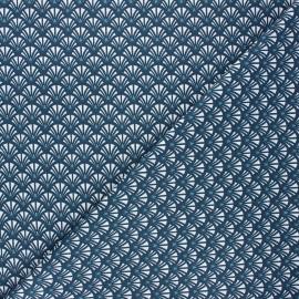 Tissu coton cretonne Yazo - bleu pétrole x 10cm