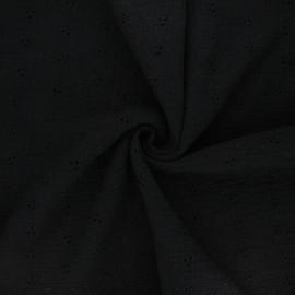 Tissu double gaze de coton brodé Emilienne - noir x 10cm