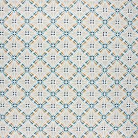 Tissu coton cretonne enduit Capucine - grège x 10cm
