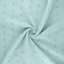 Tissu double gaze de coton brodé Emilienne - opaline x 10cm