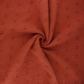 Tissu double gaze de coton brodé Emilienne - rouille x 10cm