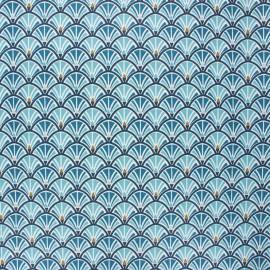 Coated cretonne cotton fabric - petrol blue Jacinthe x 10cm