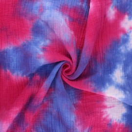 Tissu double gaze de coton tie and dye - Elixir x 10cm