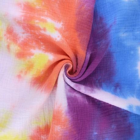 Tissu double gaze de coton tie and dye - Seventies x 10cm