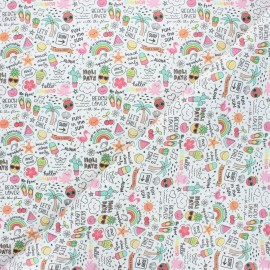 Cretonne cotton fabric - white Hello summer! x 10cm