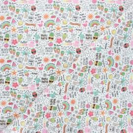 Tissu coton cretonne Hello summer! - blanc x 10cm