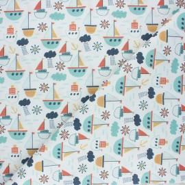 Cretonne cotton fabric - white Les petits bateaux x 10cm