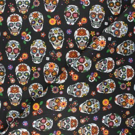 Cretonne cotton fabric skull - black x 10cm