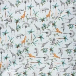 Tissu coton cretonne Savane africaine - blanc x 10cm