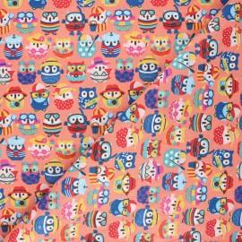 Tissu coton cretonne Hiboux d'été - corail x 10cm