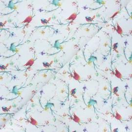 Tissu coton cretonne Songbirds  - blanc x 10cm