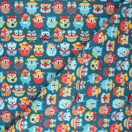 Tissu coton cretonne Hiboux d'été - vert paon x 10cm