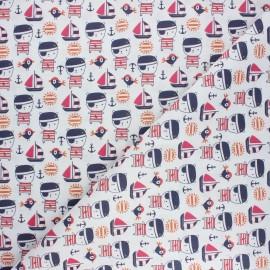 Cretonne cotton fabric - white Petit pirate x 10cm