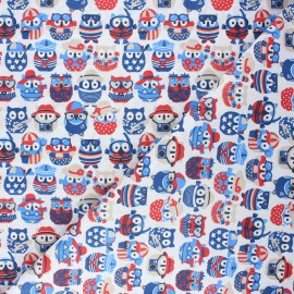Tissu coton cretonne Hiboux d'été - blanc/bleu x 10cm