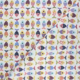 Tissu coton cretonne Poisson d'avril  - écru x 10cm