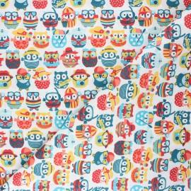 Tissu coton cretonne Hiboux d'été - blanc/jaune x 10cm