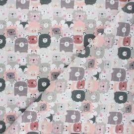 Tissu coton cretonne Animal crowd - rose x 10cm