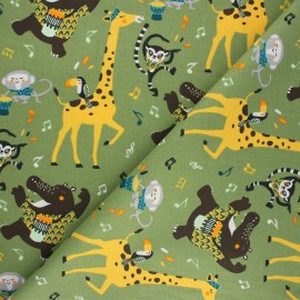 Tissu coton cretonne Jazzy - kaki x 10cm