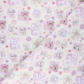 Tissu coton cretonne Pets - écru x 10cm