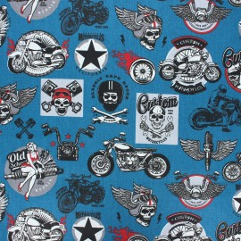 Coated cretonne cotton fabric - duck blue Rider gang x 10 cm