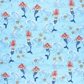 Coated cretonne cotton fabric - blue Waves & mermaids x 10 cm