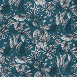 Coated cretonne cotton fabric - peacock blue Java x 10 cm