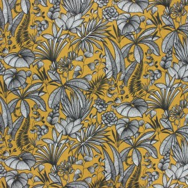 Coated cretonne cotton fabric - curry yellow Java x 10 cm