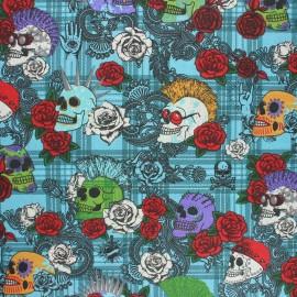 Tissu coton cretonne enduit Punky vibe - bleu x 10cm