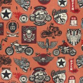 Tissu coton cretonne enduit Rider gang - rouille x 10cm