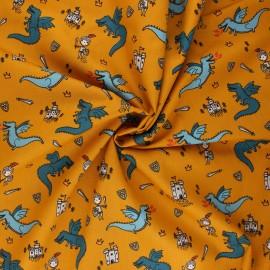 Poppy poplin cotton fabric - honey Fighting against the dragons x 10cm