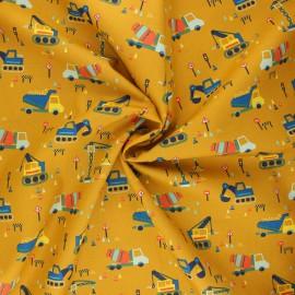 Poppy poplin cotton fabric - mustard yellow Construction vehicles x 10cm