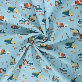 Poppy poplin cotton fabric - light blue Construction vehicles x 10cm