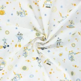 Poppy poplin cotton fabric - white Cool space vehicles x 10cm